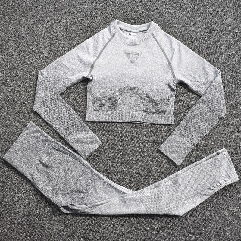ShirtsPantsGray - Women's Sportwear Seamless Fitness Gradient Yoga Set