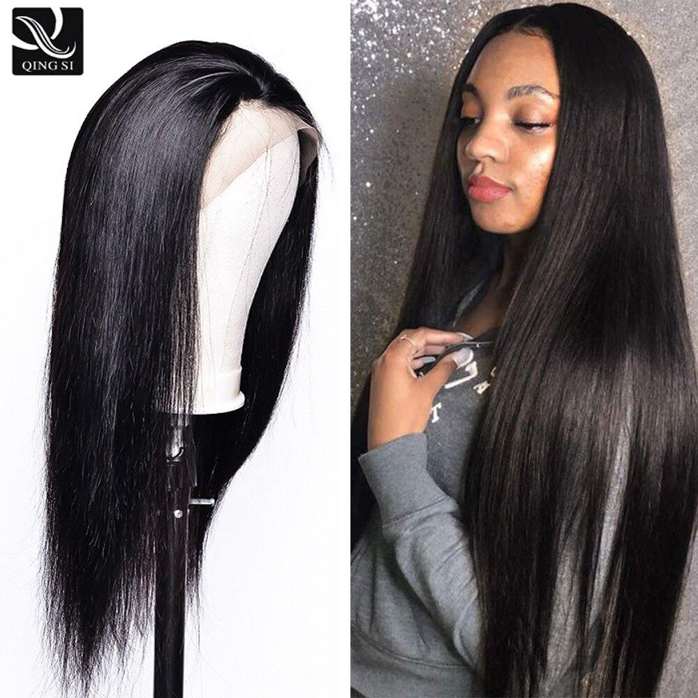 Qing si perucas de cabelo em linha reta peruca frontal do laço brasileiro remy cabelo humano 13*4 frontal do laço l pré arrancado com o cabelo do bebê densidade 150%