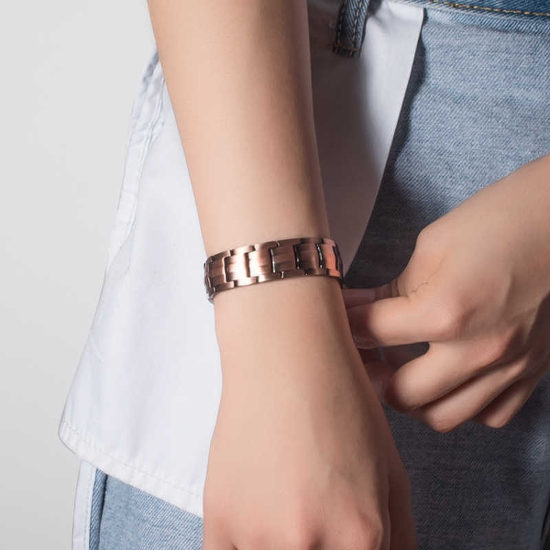 KLEINER FROSCH Drop Verschiffen Vintage Kupfer Magnetische Armband für Mann 2 Reihe 4 In 1 Elemente Gesunde Heilende Therapie Energie armreifen
