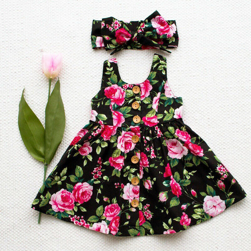 Pudcoco Toddler Kids Baby Girl Party Princess Floral SUMMER Dress Pageant Clothes New