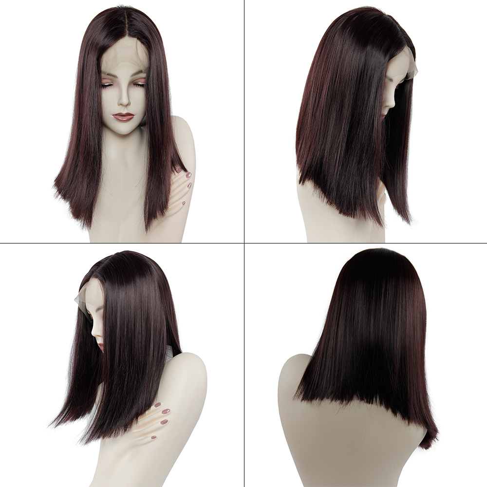 Ultimate DealƒWig Hair-Wigs Yaki Natural-Hairline Middle-Part Brown Lace-Front Color Long Synthetic