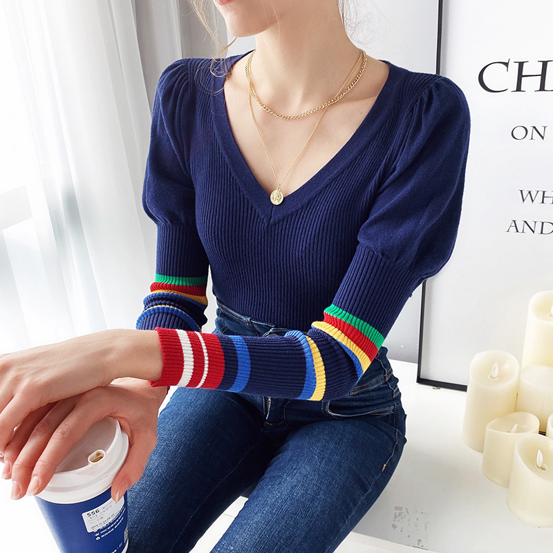 Dabuwawa V Neck Puff Shoulder Knit Sweater Women Tops Long Rainbow Sleeve Casual Basic Office Ladies Sweaters DT1AJS005