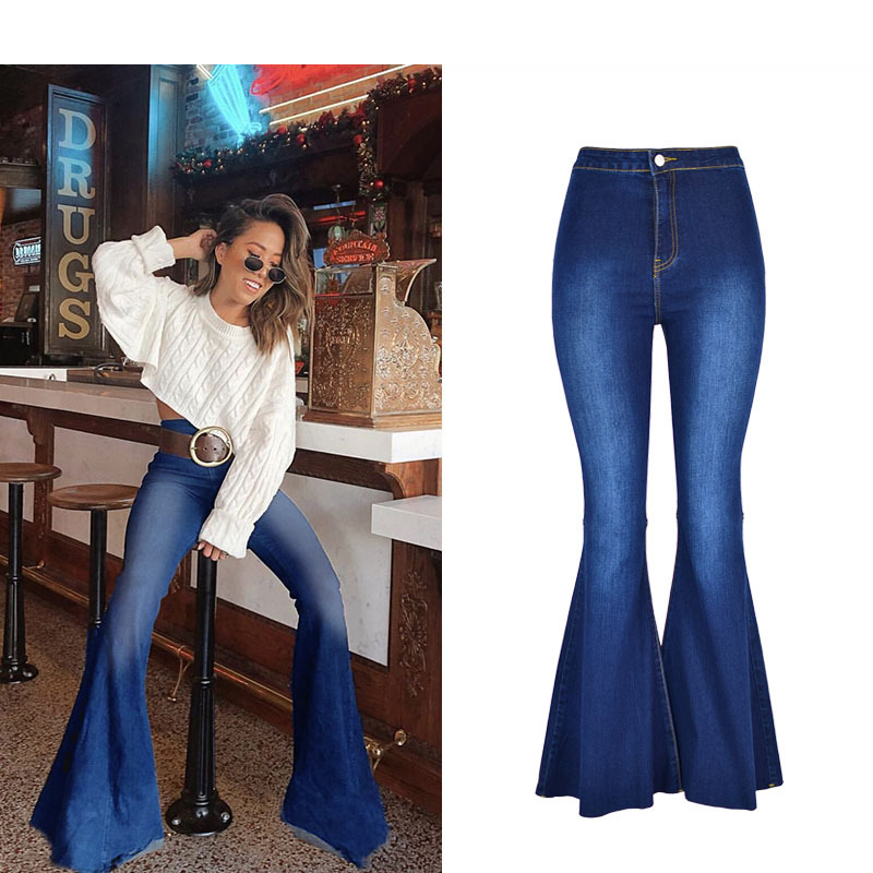 2019 High Waist Fashionable Wash Bell Bottom Jeans For Women Wide Leg Pants Plus Size Mom Jeans Flare Denim Skinny Jeans Woman