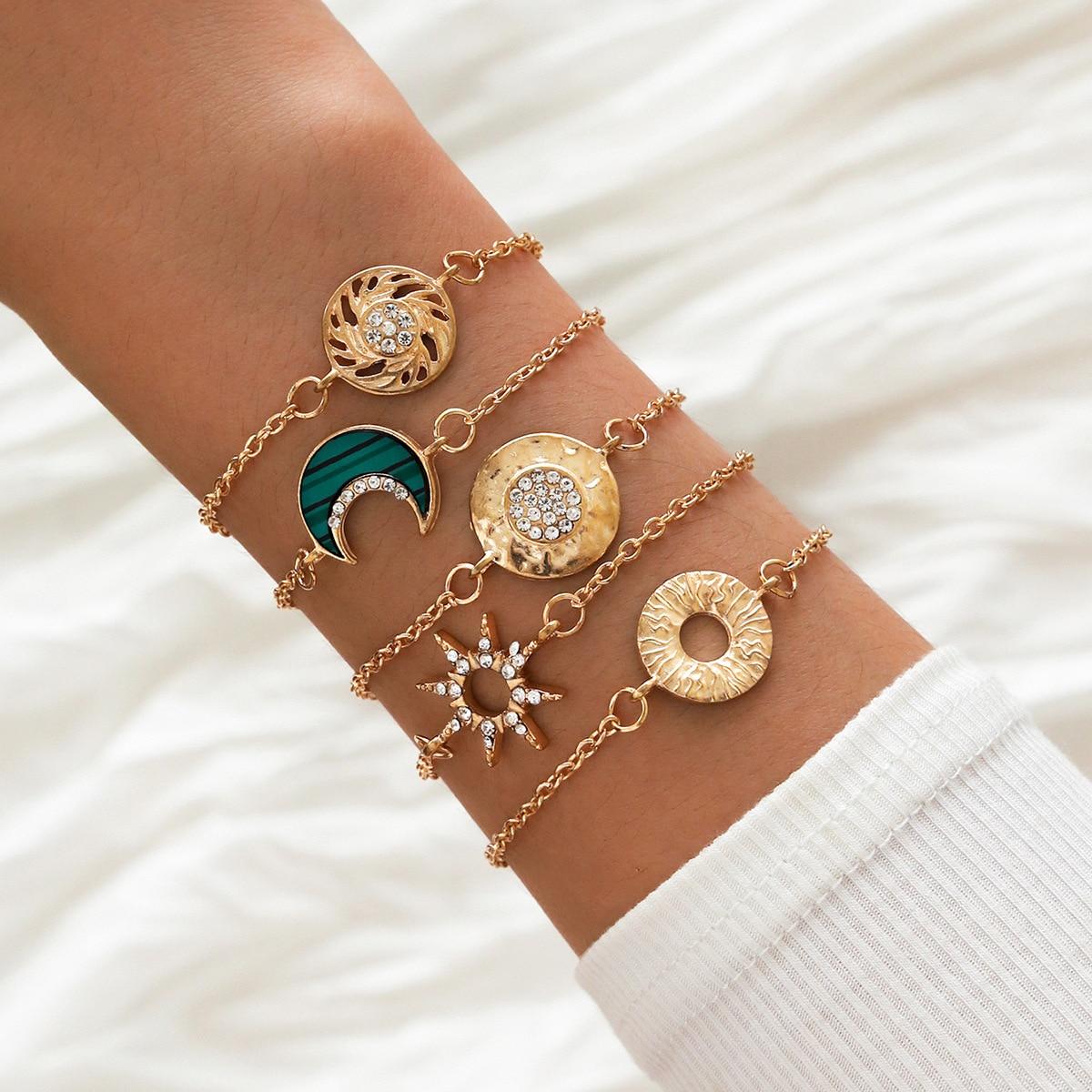 HI MAN-pulsera Vintage hueca trenzada con forma de Luna mixta para mujer, amuleto de cristal de Pavé, joyería clásica para fiesta