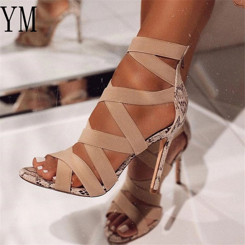 Sandalias Mujer Women's Ladies Pumps Fashion Bandage Patchwork Mixed Colors Cross Strap Snake High Heels Sandals Casual 2020