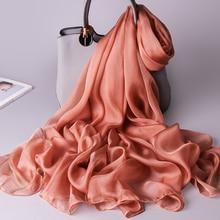 100% Real Silk Scarf Women Thin Chiffon Silk Shawls Wraps for Ladies Solid Neckerchief Hangzhou Natural Silk Scarf Foulard Femme