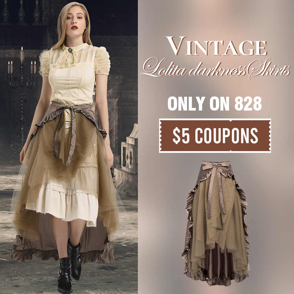BP Victorian Steampunk Gothic Punk Ruffled Bustle Long Skirts Retro Lace up Asymmetrical lolita darkness Women Vintage Skirts