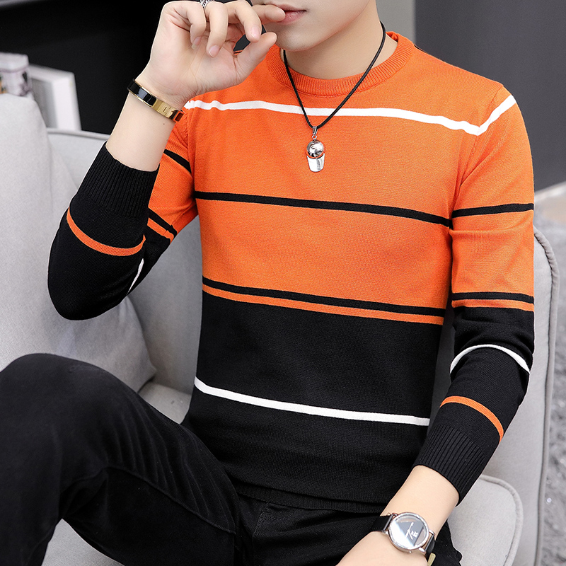 2021 Autumn Men's Casual round Neck Striped Sweater Youth Color Matching Base Thin Sweater 3