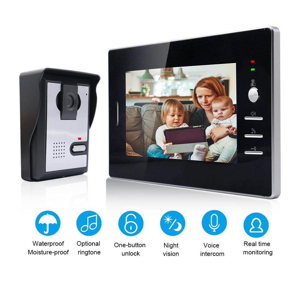 "Wired Video Doorbell 7"" Video Intercom System Doorbell HD Camera Support Unlock, Monitoring, Dual-Way Intercom for Home Office"