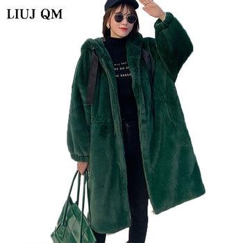 2020 Women Parka Winter clothes New Faux Rabbit Fur Coat Oversize Thick Warm Long Jacket Hooded Plus Size Plush