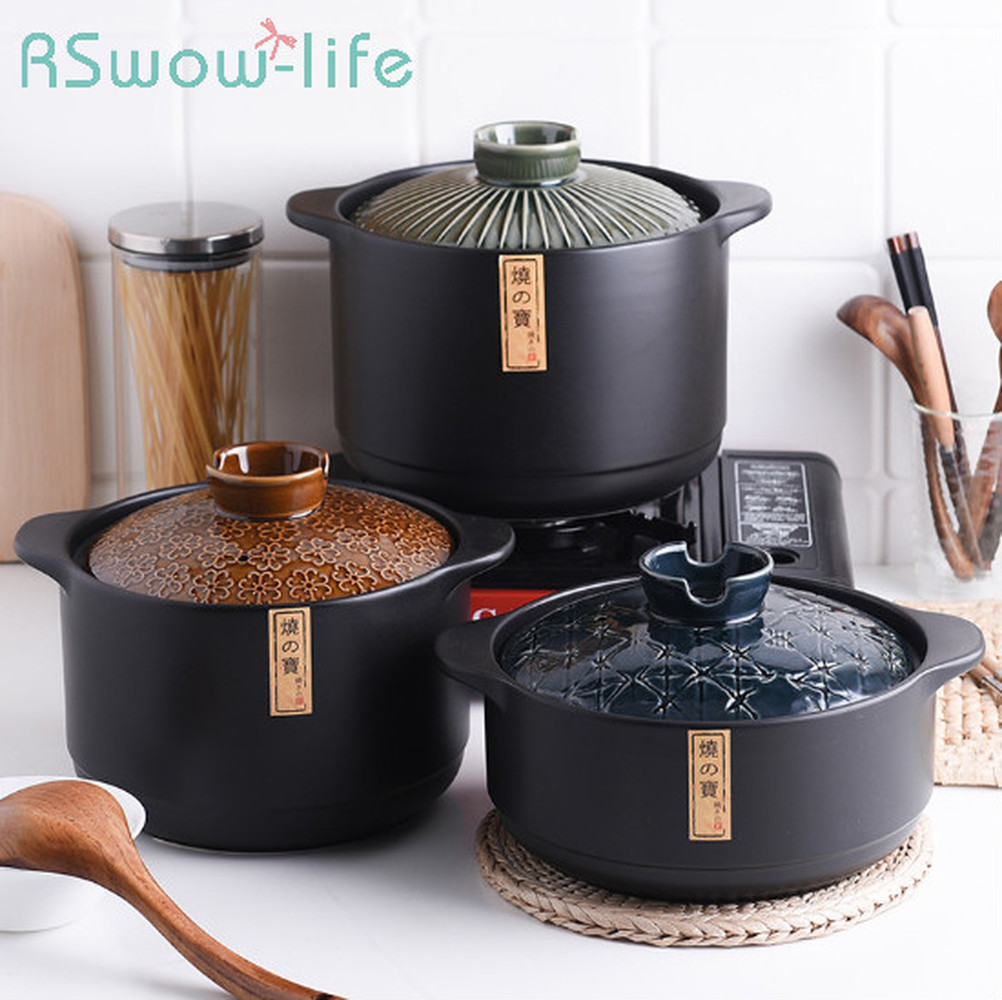 Kitchen Supplies Cookware Japanese Ceramic Casserole Gas Stove for Soup Stew Pot Ceramic Cooking Pot Casserole