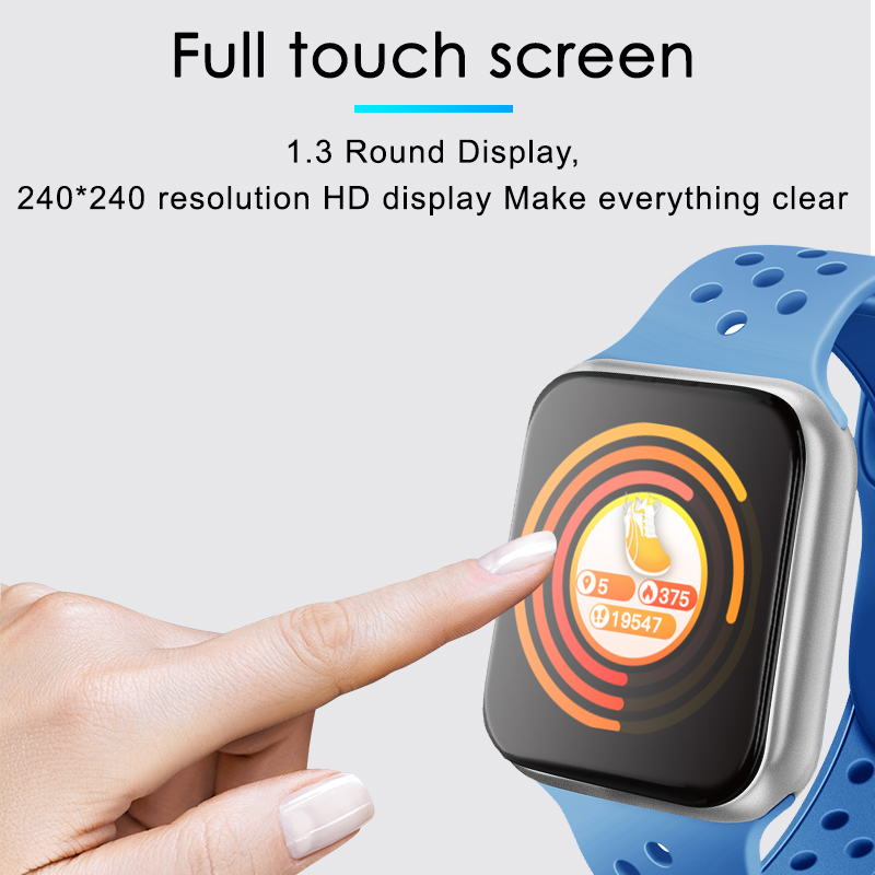 F9 s PK iwo8 b57 Touch Screen smart watches to Monitor Heart rate and Blood pressure Supported for IOS Android for men women 2
