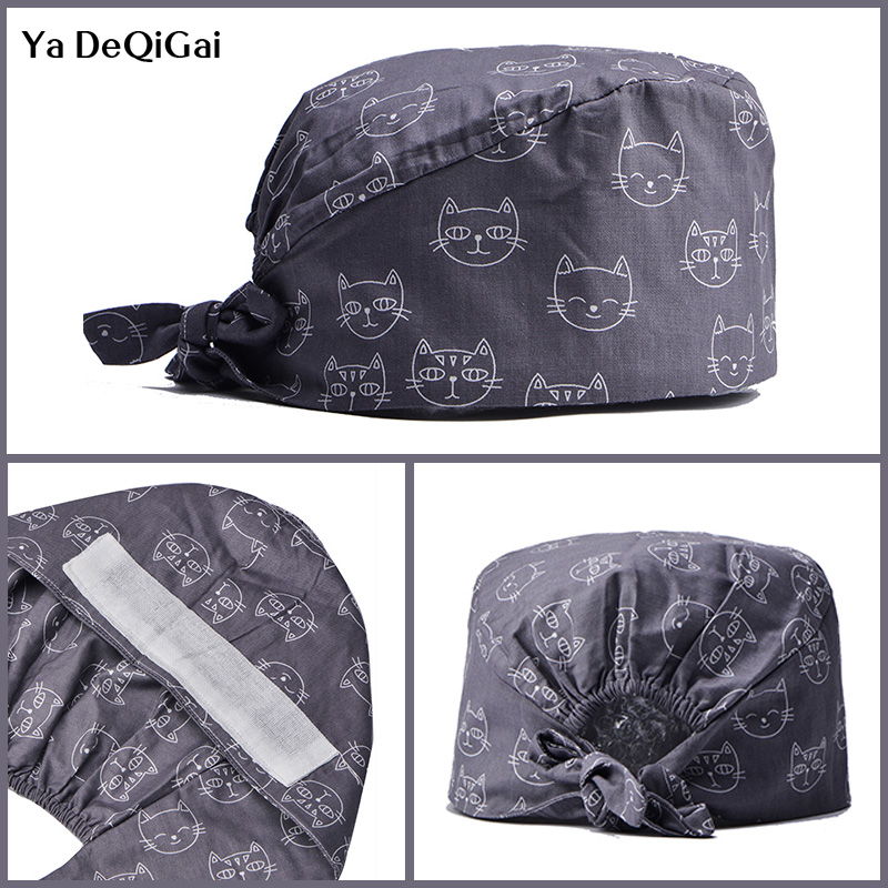 Cotton Operating Room Hat Cartoon Printing Surgical Hat Sweat-absorbent Breathable Pet Hospital Doctor Dental Clinic Nurse Cap