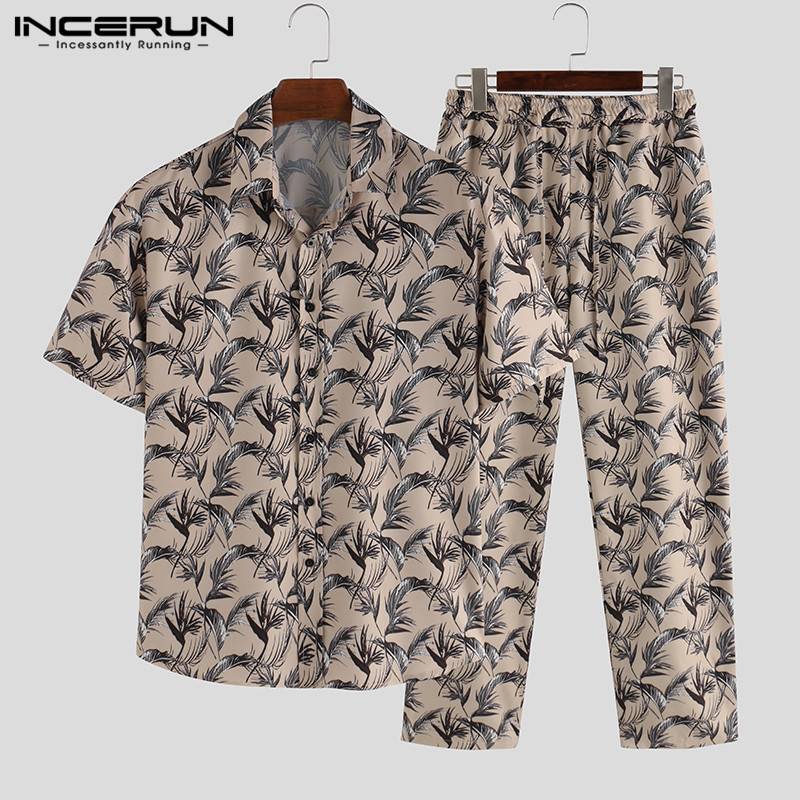 INCERUN Men Pajamas Sets Printing Homewear Leisure Short Sleeve Tops Loose Pants Fashion Sleepwear Suit Men Nightgown Sets S-5XL