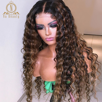 180 Density Blonde Highlight Wig HD Transparent Lace Wig Water Wave Ombre Colored 13x6 Lace Front Human Hair Wigs Nabeauty Remy