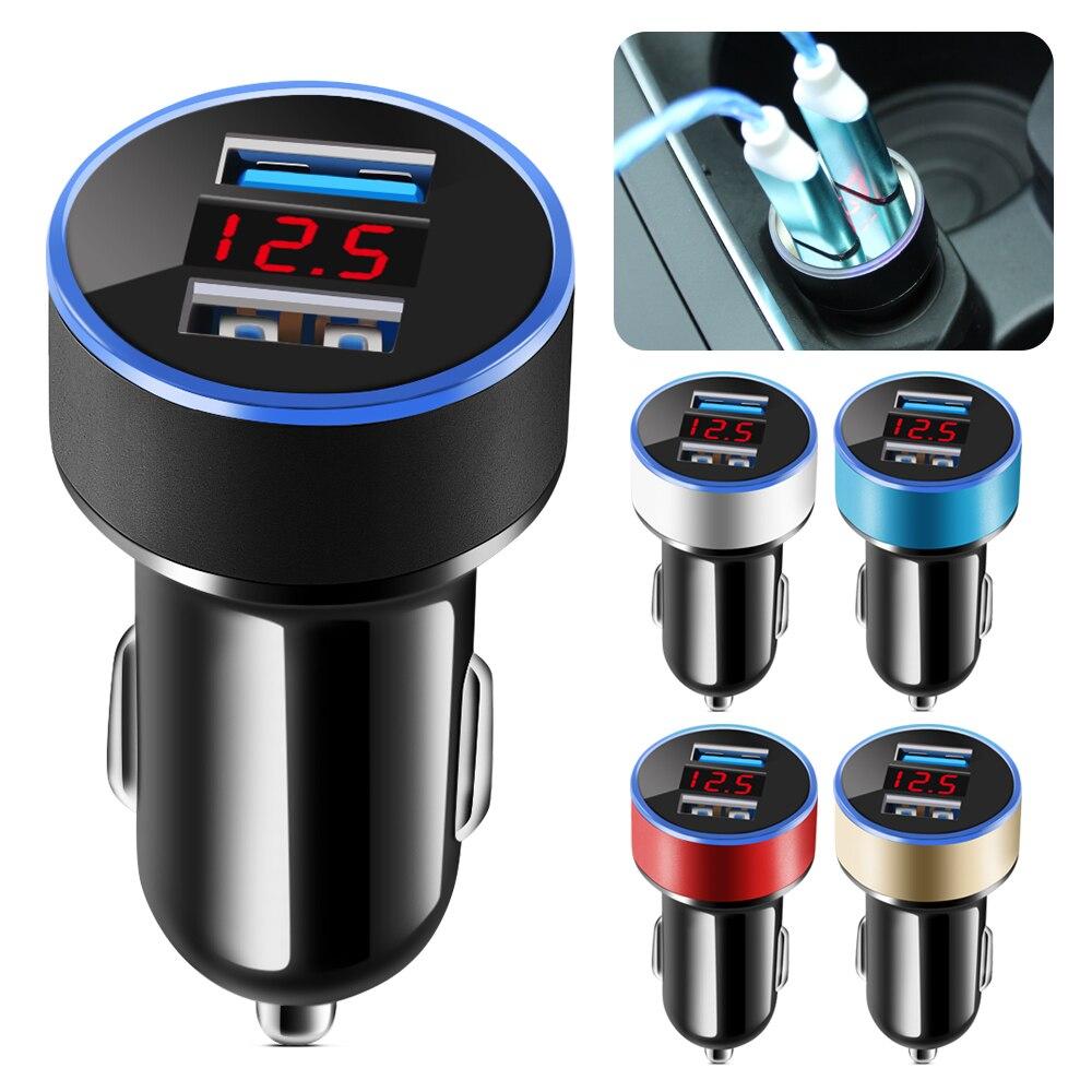 Автомобильные аксессуары для автомобильного зарядного устройства 2 порта ЖК-дисплей 12-24 в прикуриватель двойной USB Профессиональный 3.1A для ...