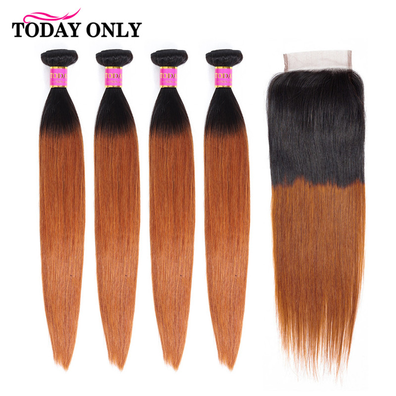 TODAY ONLY Peruvian Hair 4 Bundles With Closure Ombre Straight Hair Bundles With Closure Remy Human Hair Bundles With Closure