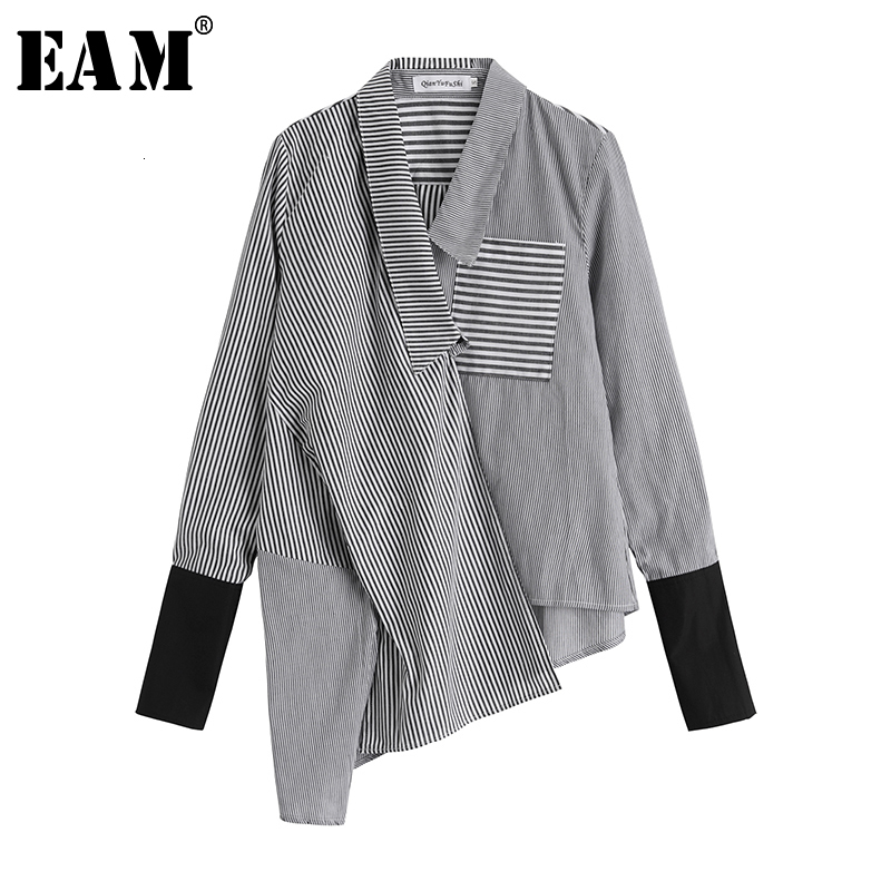 [EAM] Women Black Striped Asymmetrical Split Joint Blouse New Lapel Long Sleeve Loose Fit Shirt Fashion Spring Autumn 2020 1D364