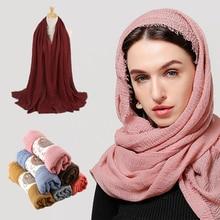 Women Plain Bubble Cotton Hijab Scarf Crinkle Muslim Scarves