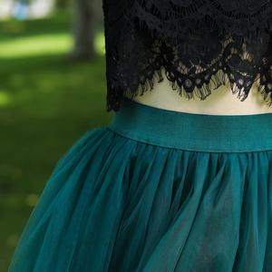 Image 5 - تنورة نسائية من 7 طبقات من التول بخصر عالٍ متأرجحة من قماش التول مع تنورة شبكية من التتوتو لصيف 2020 تنورة ميدي من Faldas Saias Jupe