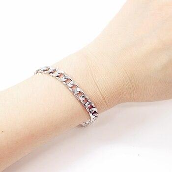 NEW Men's hip-hop stainless steel punk rock bracelet Cuban brake chain men's bracelet women's jewelry Simple Style hand chain 6 5