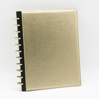 A4 Leather Notepad Mushroom Hole Metal Ring Binding Leather Cover Notebook Advanced Business Meeting PU Loose leaf Notebook