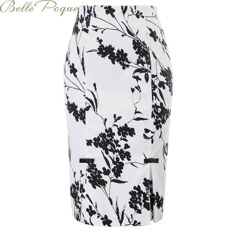 Belle Poque 2019 Print Elegant Pencil Skirt Women Slim High Waist Vintage Floral Midi Skirt Fashion Work Office Ladies Skirt