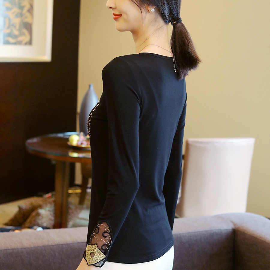 Musim Gugur Fashion Bordir Panas Pengeboran Lengan Panjang Wanita Blus Kemeja Kasual Plus Ukuran Elegan Blus Tops Femme Blusas