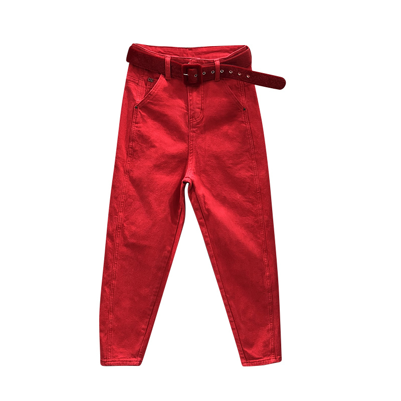 Autumn Fashion Red Hallem   Jeans   Women Casual Pants Cowboy Hole Trousers High Waist Boyfriend   Jeans   For Women Befree Plus Size