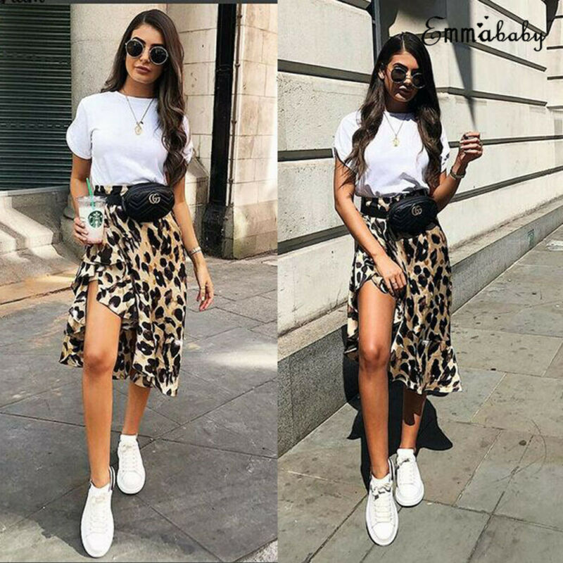 Women High Waisted Stretch Leopard Skirt