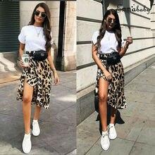 Women High Waisted Stretch Leopard Skirt