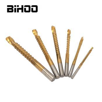 цена на 6Pcs 3-8mm Titanium Coated Woodworking HSS Saw Drill Bit Carpenter Wood Plastic Metal Hole Grooving Saw Drill Bit