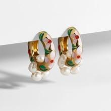 Vintage Boho Circle Flower Statement Dangle Earrings Female Pearl Geometric Drop Earrings Enamel Huggie Jewelry circle fake pearl drop earrings page 7