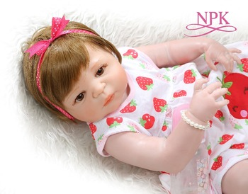 NPK 56CM bebe doll reborn baby sweet  newborn girl victoria full body silicone Bath toy  hand detailed paiting pinky skin