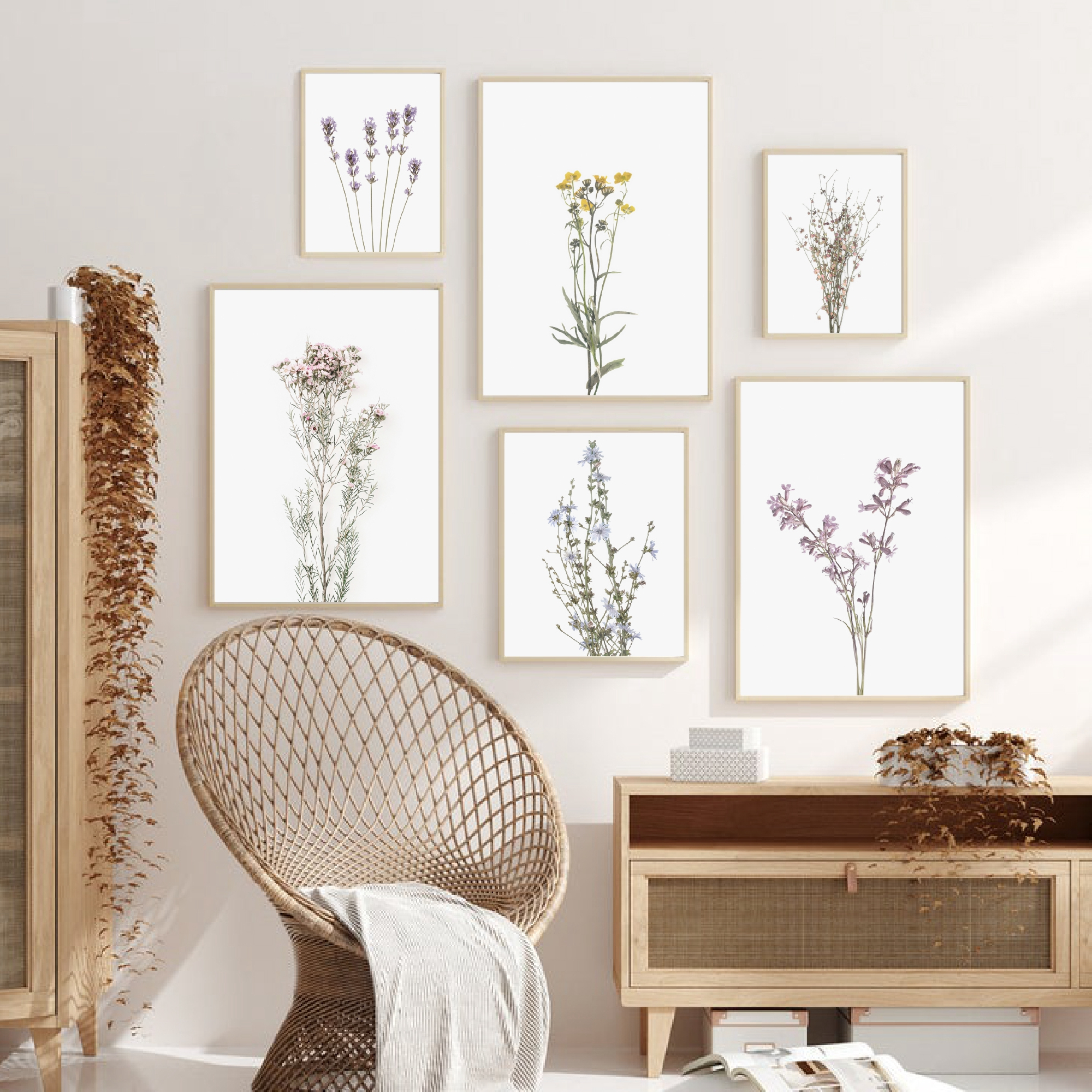 Flowers Botanical Scandinavian Posters Wildflowers Nordic Style Gallery Wall Art Prints Decorative Painting Pictures Home Decor