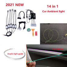 RGB Car Interior Optical Acrylic Strip Ambient Light APP Bluetooth Control Atmosphere Lamp Wireless Standalone Connection Unit