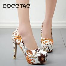 The New 2019 Printing Fine With Womens Shoes Waterproof Big Yards Of European And American Fashion High Heels 35