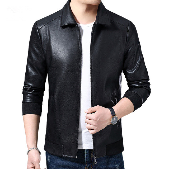 2019 Spring Autumn Jacket Faux Leather Motorcycle Biker Brown Black Lether Jacket Men Jaqueta Couro Masculino Blouson Cuir Homme