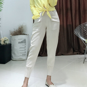 Image 5 - Women Spring Suede Harem Pants High Waist Elastic Pockets Harem Pants Casual Autumn Loose Plus Size Trousers Streetwear mujer