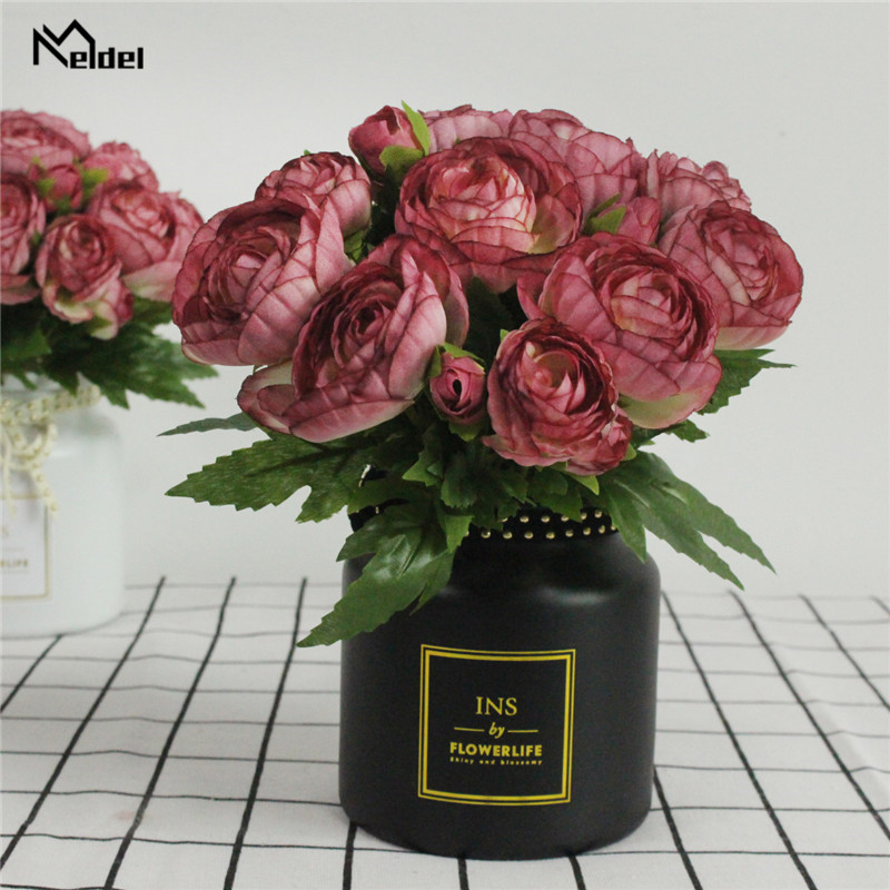 Meldel 10 Heads Burgundy Artificial Tea Rose Flower Bridal Bouquet Wedding Decoration Fake Mini Rose Silk Flower Home Table Vase