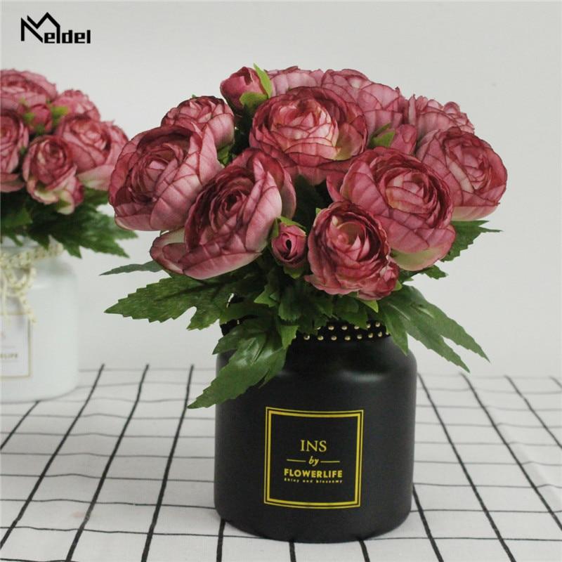 Meldel 10 Heads Burgundy Artificial Tea Rose Flower Bridal Bouquet Wedding Decoration Fake Mini Rose Silk Flower Home Table Vase