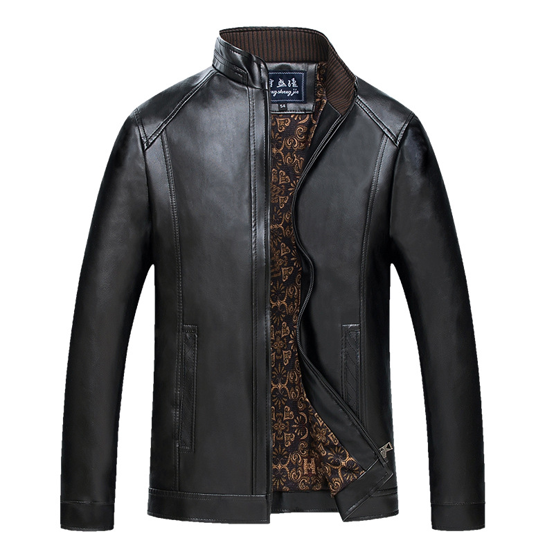 2018 New Style Middle-aged MEN'S Jacket Plus Velvet Jacket Stand Collar PU Leather Fur Wandering Peddler Leather Coat