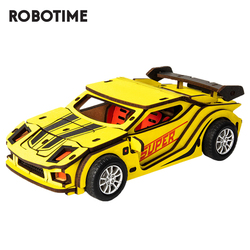 Robotime Kids Racing Car Toys Friction Vehicles Model Building Kits Wooden Toys For Children Birthday Gift