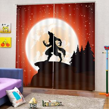 Modern Home Decoration 3D Window Curtain Forest moon animal wolf print Luxury Blackout For Living Room