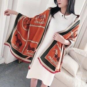 Image 1 - Luxus Winter Kaschmir Schal Für Frauen Warme Pashmina Schals und Wraps Mode Kette Tier Print Tuch Schals Für Dame 2019