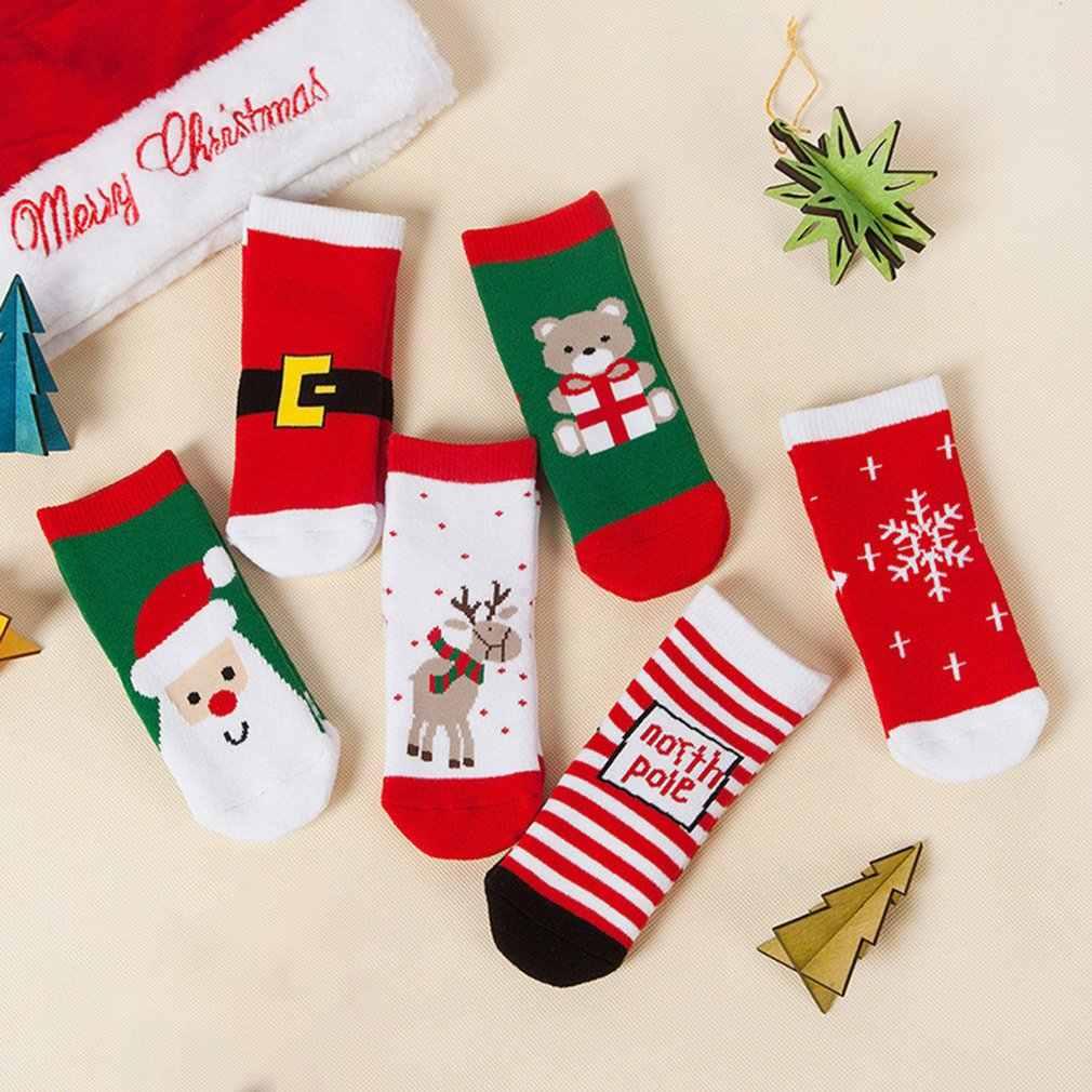 1 par de algodão crianças dos desenhos animados meias de natal casuais do bebê meninas meninos inverno floco de neve veados impresso meias crianças presente de natal