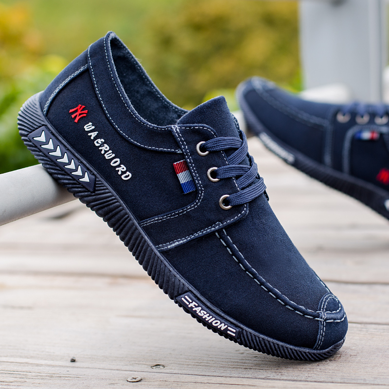 NEW Canvas Men Shoes Denim Lace-Up Men Casual Shoes Plimsolls Breathable Male Footwear Spring Autumn Sneakers Size 39--45