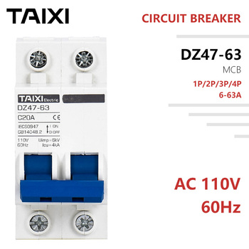 AC 110V MCB CIrcuit Breaker 2 Poles 10A 20A 63A 60Hz Frequency United States Japan Canada Mexico Mini Switch 1P 3P 4P united states 91mce1 p1a linear stroke switch