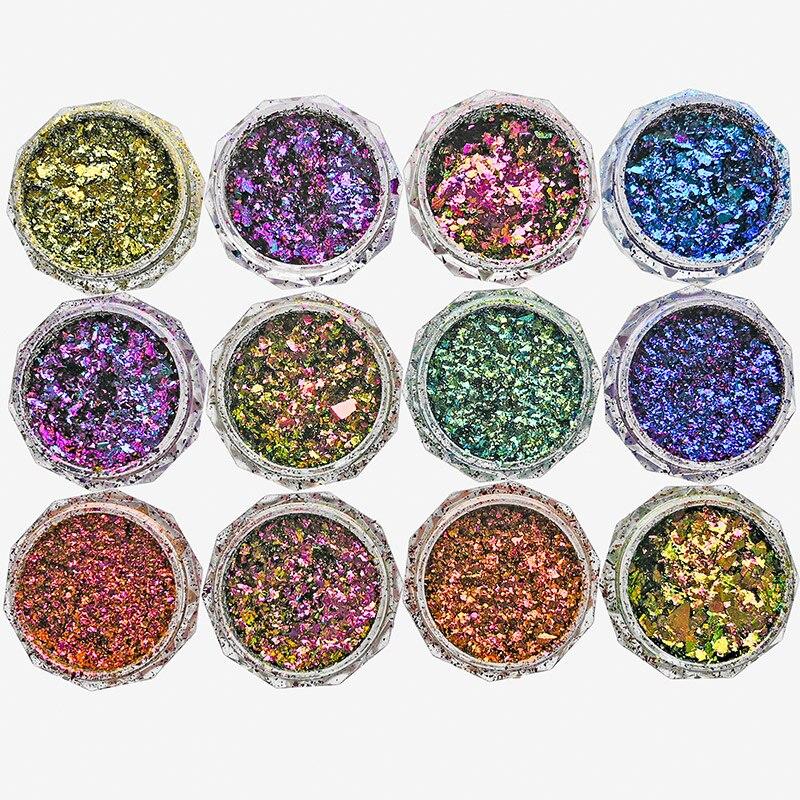 1 Box 0.2g Chameleon Flakes 3D DIY Sequins Nail Glitter Powder Dust Mirror Chrome Pigment Flakes Nail Art Irregular Powder FT79