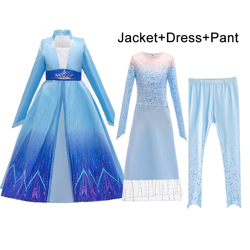 Summer Frozen 2 Long Sleeve Dress Girl Anna Kids Dresses For Girls Children Printed Birthday Party Princess Cosplay Dress